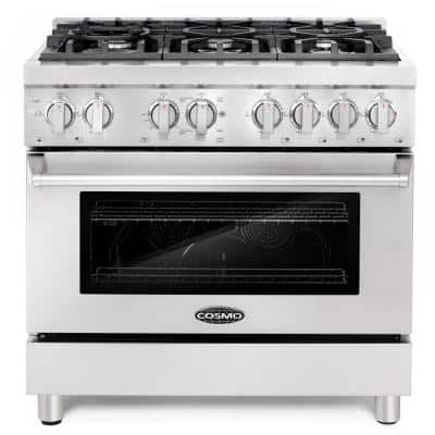 Commercial-Style 36 in. 4.5 cu. ft. Single Oven Dual Fuel Range with 6 Italian Burners and 5 Function Electric Oven