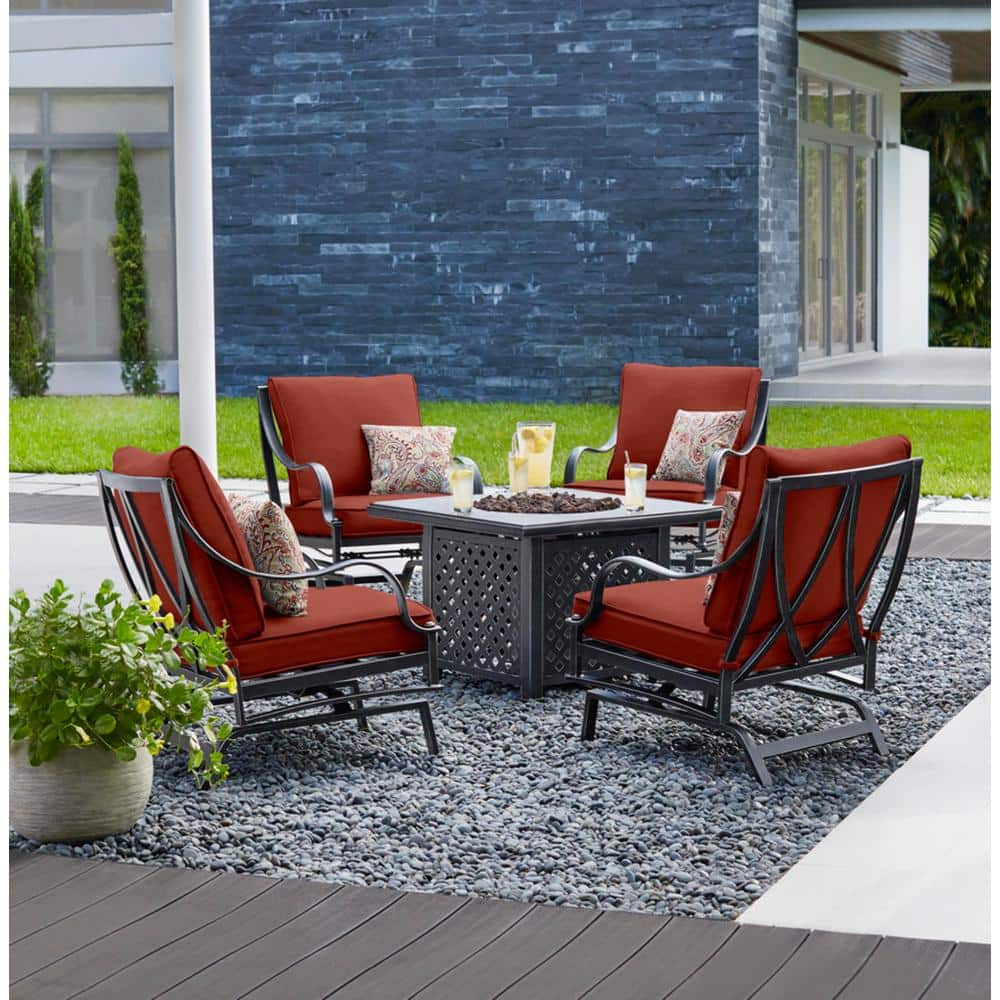 Hampton Bay Highland Point Black Pewter 5 Piece Aluminum Outdoor Patio Fire Pit Set With Sunbrella Henna Red Cushions H091 01510100 The Home Depot