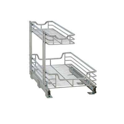 Chrome Sliding 2-Tier Steel Under Sink Shelving Unit 12.5 in. W x 15.75 in. H x 21 in. D