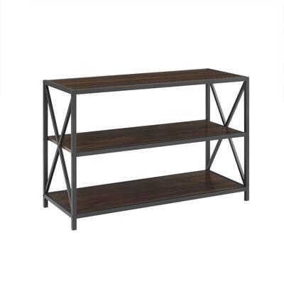 26 in. Dark Walnut/Black Metal 3-shelf Etagere Bookcase with Open Back