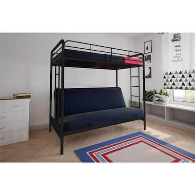 Easton Black Metal Twin Over Futon Bunk Bed