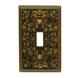 Filigree 1 Gang Toggle Metal Wall Plate - Antique Brass
