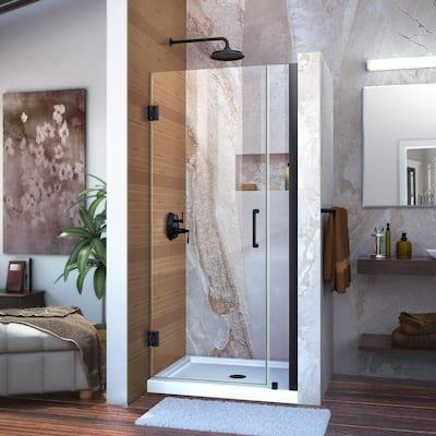 Unidoor 29 to 30 in. x 72 in. Frameless Hinged Shower Door in Satin Black