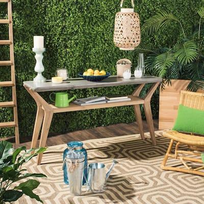 Babette Dark Gray Rectangle Stone Indoor/Outdoor Side Table