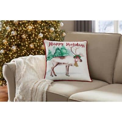 18 in. Happy Holidays Reindeer Holiday Square Pillow