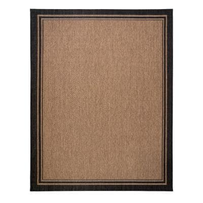 Paseo Soroa Chestnut/Black 8 ft. x 10 ft. Border Indoor/Outdoor Area Rug