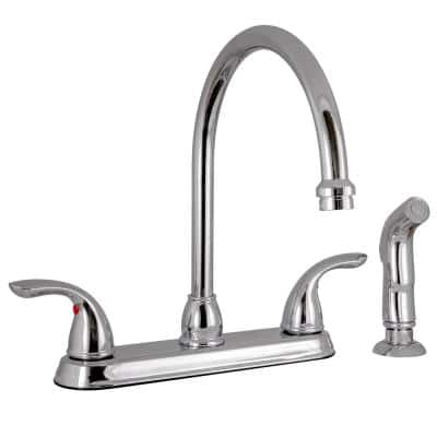 Ashland 2-Handle Standard Kitchen Faucet with Side Sprayer in Polished Chrome