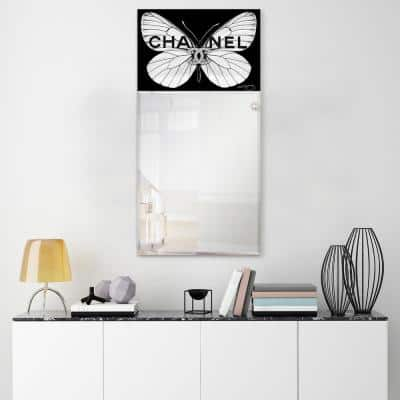 48 in. x 24 in. CC Butterfly Rectangle Framed Printed Tempered Art Glass Beveled Accent Mirror