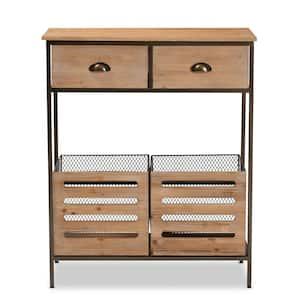 Abram Oak Brown and Black Storage Cabinet