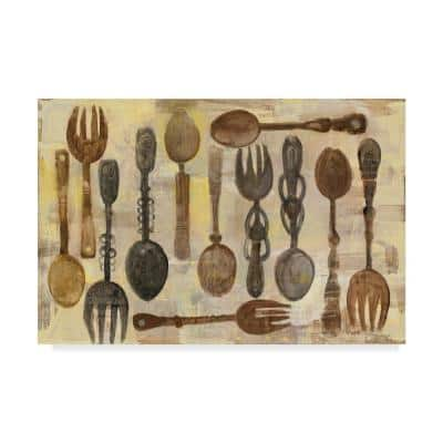 Spoons and Forks by Albena Hristova Floater Frame Home Wall Art 22 in. x 32 in.