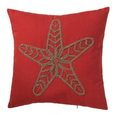 Oceantex Vibrant Reef Starfish Outdoor Square Throw Pillow (2-Pack)
