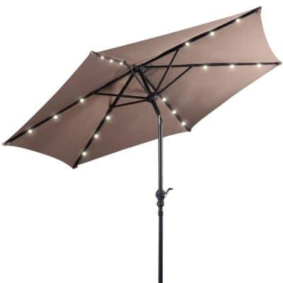 9 ft. Steel Market Solar Tilt Patio Umbrella with Crank and LED Lights in Tan