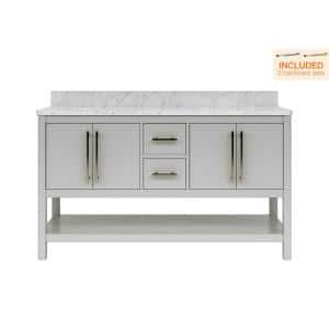 Glovemont 60 in. W x 22 in. D Double Vanity in Light Gray with Carrara Marble Vanity Top with White Basins