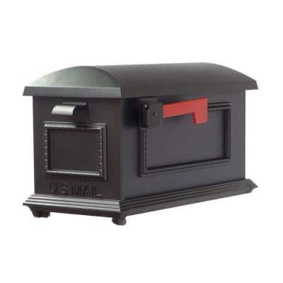 Traditional Black Post Mount Mailbox