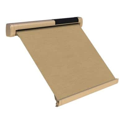 8 ft. Solar Powered Home Window Retractable Smart Awning, Beige Case, Heather Beige Fabric