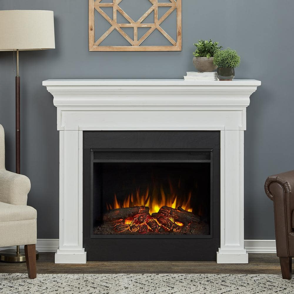 Real Flame Emerson Grand 56 In Freestanding Electric Fireplace In Rustic White 6720e Rw The Home Depot
