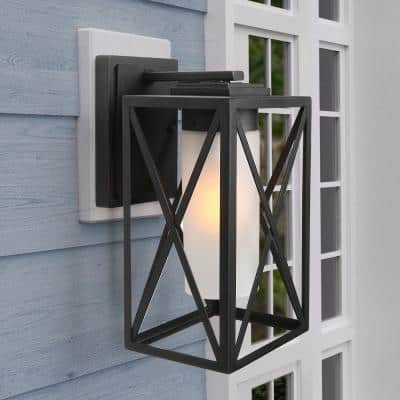 1-Light Outdoor Black Wall Lantern Sconce Decorative Coach Light for Patio and Porch with Frosted Cylinder Glass