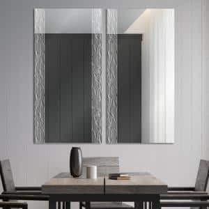 Easy Install Decorative Art Floating Frameless Vanity Mirror Contemporary Wave Etched 38'' L x 26'' H