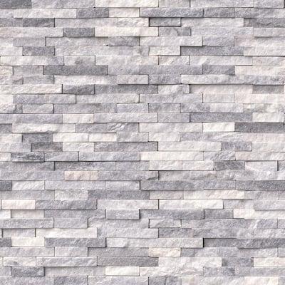 Take Home Tile Sample - Alaska Gray Split Face 6 in. x 6 in. x 10 mm Marble Mesh-Mounted Mosaic Tile - 6 in. x 6 in