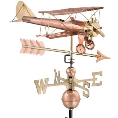 Biplane with Arrow Weathervane-Pure Copper