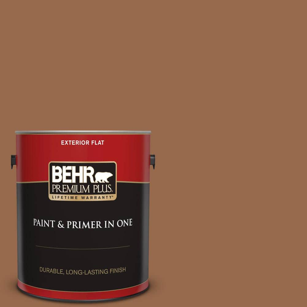 Behr Premium Plus 1 Gal S230 7 Toasted Bagel Flat Exterior Paint And Primer In One 430001 The Home Depot
