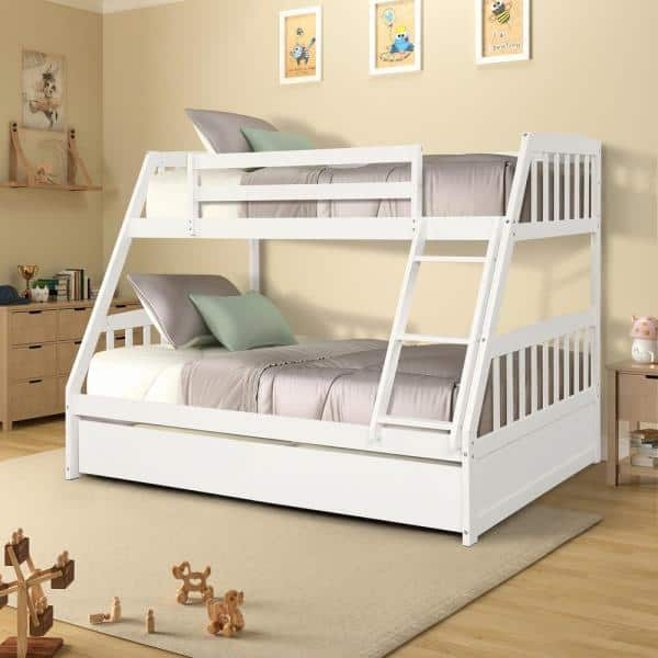 Harper Bright Designs White Solid Wood Twin Over Full Bunk Bed With 2 Storage Drawers Sh000092aak The Home Depot