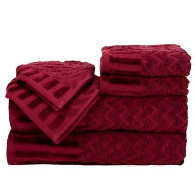 6-Piece Burgundy Chevron Patterned Deluxe Plush Cotton Bath Towel Set
