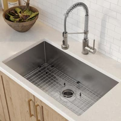 Standart PRO All-in-One Undermount Stainless Steel 30 in. Single Bowl Kitchen Sink with Faucet in Stainless Steel Chrome