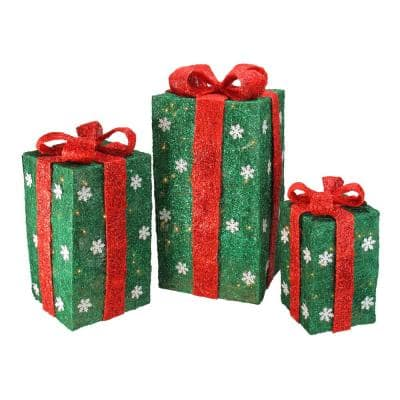 Set of 3 Clear Incandescent Light Tall Green Sisal Gift Boxes Lighted Christmas Yard Decor