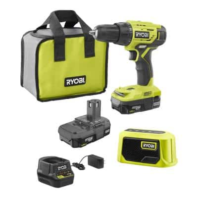 ONE+ 18-Volt 1/2 in. Drill/Driver Kit with Bluetooth Speaker, (2) 1.5 Ah Batteries, Charger, and Bag