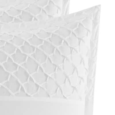 Mosaic 2-Piece White Geometric Cotton Blend European Sham