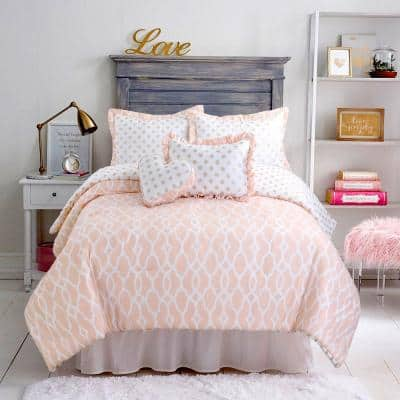 Heart of Gold Shimmer Polka Dot Ogee Trellis Sweet 2-Peice Peach White Poly Cotton Twin Quilt Bedding Set
