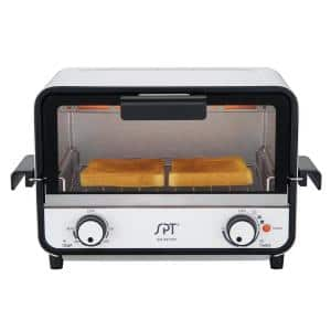 Easy Grasp 800 W 2-Slice White Countertop Toaster Oven with Built-In Timer