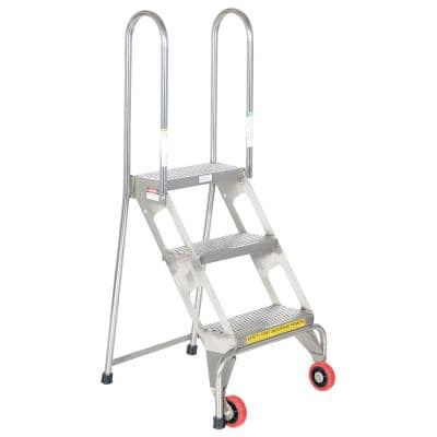 Folding 3-Step Ladder with Wheels SS