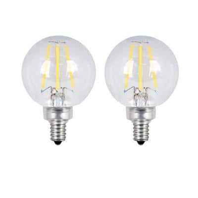 60-Watt Equivalent G16.5 Candelabra Dimmable Filament ENERGY STAR Clear Glass LED Light Bulb, Soft White (2-Pack)