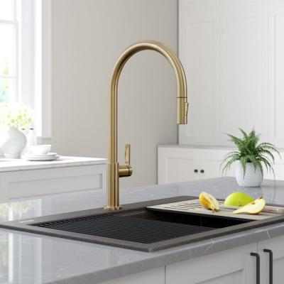 Oletto High-Arc Single-Handle Pull-Down Sprayer Kitchen Faucet in Spot Free Antique Champagne Bronze