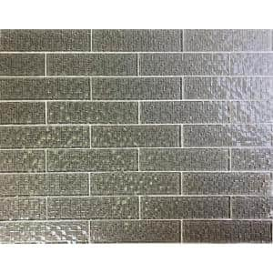 Metro Cubes Pebble Gray Subway 2 in. x 8 in. Glossy Textured Glass Wall Tile (1 Sq. ft./Sq. Ft.)