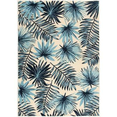 Tropical Palm Leaf Blue 9 ft. x 12 ft. Indoor/Outdoor Area Rug