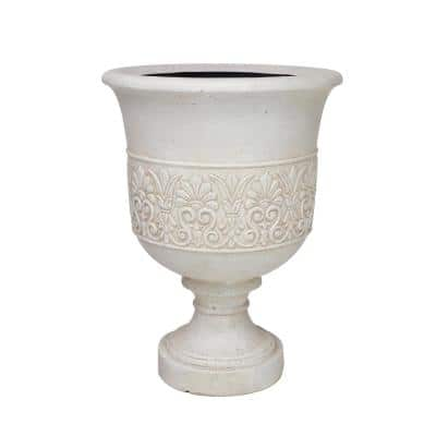 28 in. H Aged White Cast Stone Fiberglass Veranda Urn Planter