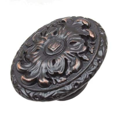 2 in. Dia Oil Rubbed Bronze Old World Ornate Oval Cabinet Knob (10-Pack)