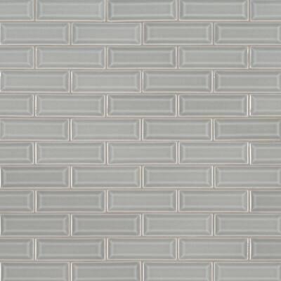 Morning Fog Beveled 12 in x 12 in. x 10 mm Glossy Ceramic Mosaic Tile (10 sq. ft. / case)