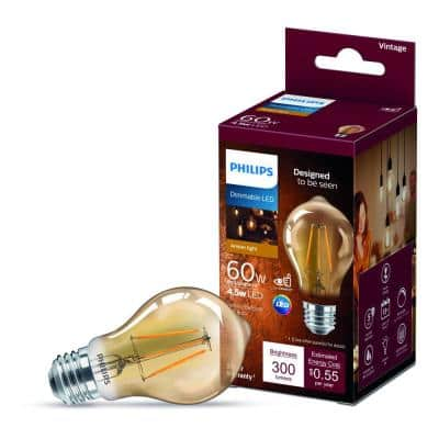 60-Watt Equivalent A19 Dimmable Vintage Glass Edison LED Light Bulb Amber Warm White (2000K) (1-Bulb)