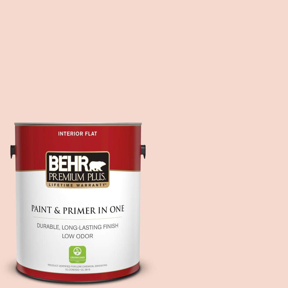 Behr Premium Plus 1 Gal M190 1 Pink Sea Salt Flat Low Odor Interior Paint And Primer In One 105001 The Home Depot