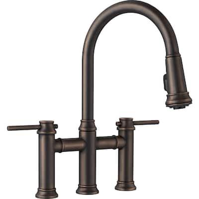 Empressa 2-Handle Bridge Kitchen Faucet with Pull-Down Sprayer in Oil Rubbed Bronze