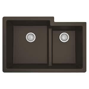 Quartz Brown 33 in. 60/40  Double Bowl Composite Undermount Kitchen Sink