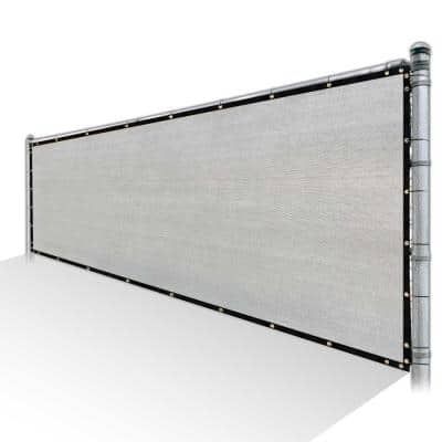 5 ft. x 30 ft. Grey Privacy Fence Screen HDPE Mesh Windscreen with Reinforced Grommets for Garden Fence (Custom Size)
