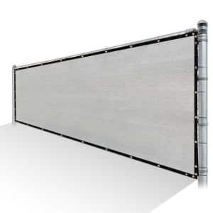 6 ft. x 50 ft. Grey Privacy Fence Screen Mesh Fabric Cover Windscreen with Reinforced Grommets for Garden Fence