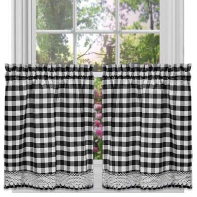 Buffalo Check Black Polyester/Cotton Light Filtering Rod Pocket Curtain Tier Pair 58 in. W x 24 in. L