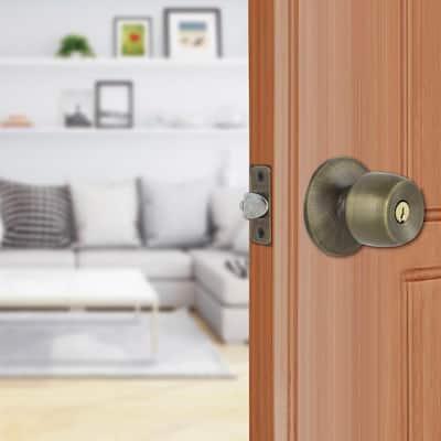 Brandywine Antique Brass Keyed Entry Door Knob (3-Pack)