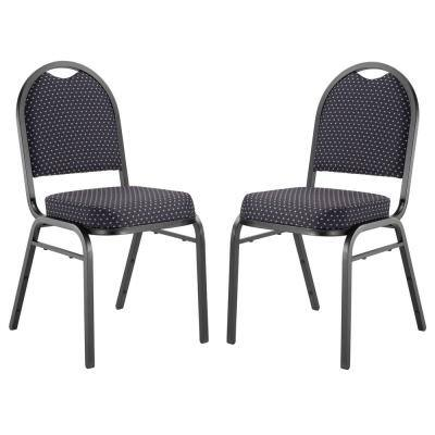 9200-Series Diamond Navy Seat/Black Sandtex Frame Premium Fabric Upholstered Stack Chair (Pack of 2)